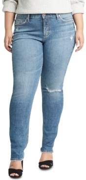 Silver Jeans Co. Trendy Plus Size Avery Ripped Slim-Leg Jeans
