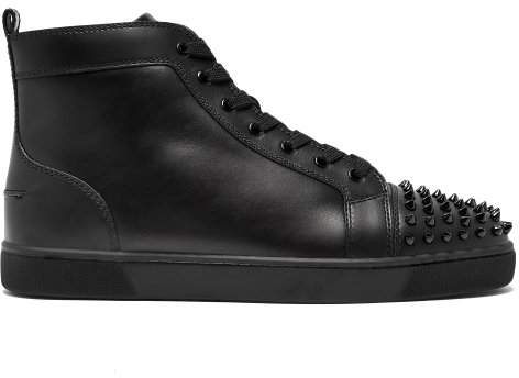Christian Louboutin Lou Spike Embellished Leather High Top Trainers - Mens - Black