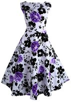 Lecimo Vintage 1950's Floral Summer Spring Garden Party Picnic Cocktail Dress ( ,Size XL)