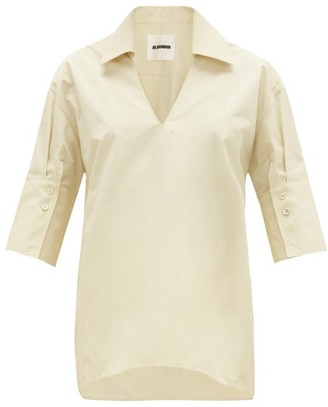 Jil Sander Point-collar V-neck Cotton Blouse - Ivory