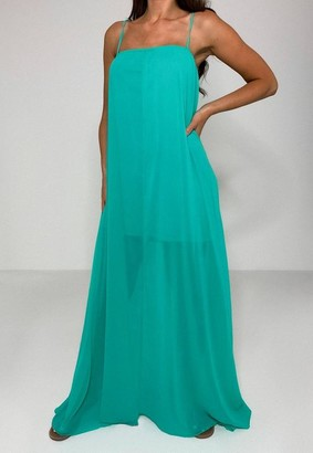 Missguided Petite Green Mesh Trapeze Maxi Dress