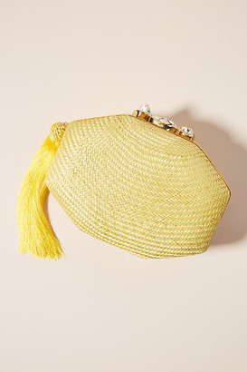 Rafe Sofia Woven Clutch By in Yellow Size ALL