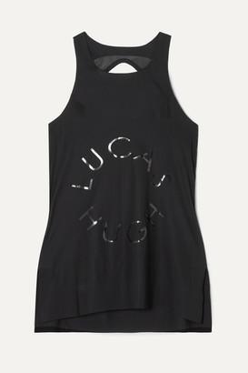 Lucas Hugh Open-back Mesh-paneled Printed Stretch Tank - Black