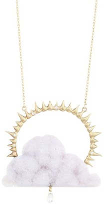 Annette Ferdinandsen 14K Yellow Gold, Blue Chalcedony Drusy & Diamond Cloud Pendant Necklace