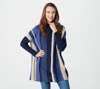 Denim & Co. Studio by Striped Long Sleeve Poncho