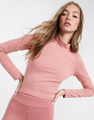 ASOS DESIGN mix & match long sleeve high neck crop top co-ord in rose