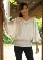 Artisan Crafted Cotton Embroidered Blouse, 'Cool Day'