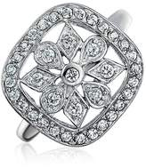 Bling Jewelry Sterling Silver Cushion Classic Pave Snowflake Ring