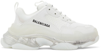 Balenciaga White Clear Sole Triple S Sneakers