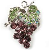 Avalaya Swarovski Crystal Bunch Of Grapes Brooch (Lilac & Light Green, Silver Tone)