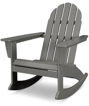Polywood Vineyard Plastic Rocking Adirondack Chair Color: SlateGray