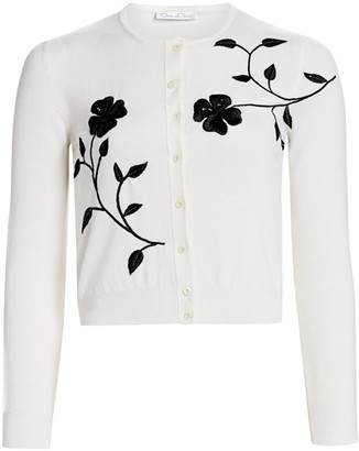 Oscar de la Renta Embroidered Floral Wool Cardigan