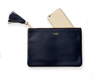 Mark And Graham Leather Tassel Zipper Pouch, Foil Debossed