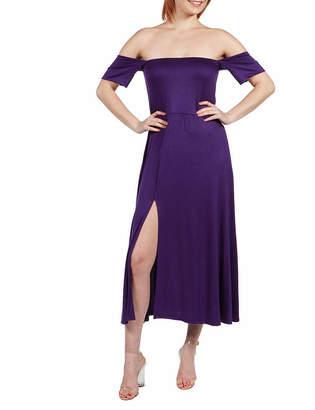 24/7 Comfort Apparel 24/7 Comfort Dresses Off The Shoulder With Side Slit Dress
