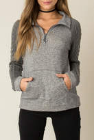 Others Follow Grey Braided Sleeve Sweater