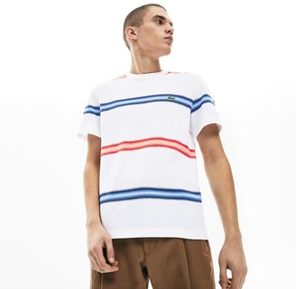 Lacoste Men's Made in France Striped Cotton Pique Crew Neck T-shirt