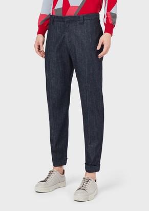 Giorgio Armani Stretch Comfort-Denim Trousers In Cotton And Cashmere