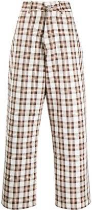 Ashley Williams High-Rise Wide-Leg Check Trousers