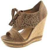 Not Rated Addilyn Women Open Toe Canvas Wedge Sandal.
