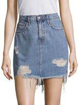 Current/Elliott Distressed Denim Mini Skirt