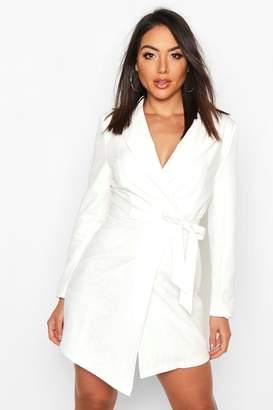boohoo Wrap Front Lace Detail Blazer Dress