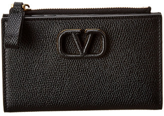 Valentino Vsling Grainy Leather Card Case