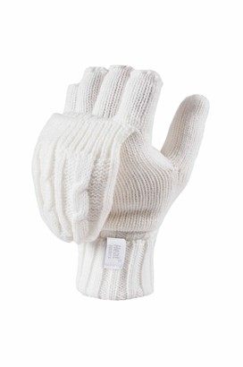 Heat Holders - Women's Thermal Converter FINGERLESS Cable Knit 2.3 tog Gloves - One size (Cream)