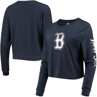 New Era Women's Navy Boston Red Sox Baby Jersey Long Sleeve Cropped T-Shirt