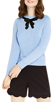 Oasis Jackie Embellished Bow Knit Top, Light Blue