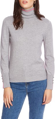 Court And Rowe Button Cuff Tipped Turtleneck Sweater