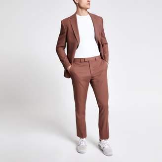 River Island Mens Brown twill suit trousers