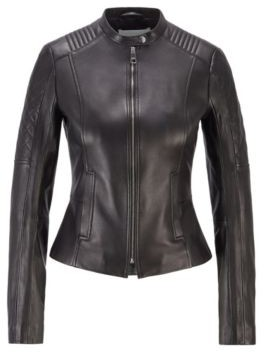 HUGO BOSS Slim-fit nappa-leather jacket with peplum waist