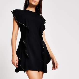 River Island Womens Black ruffle studded bodycon mini dress