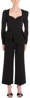 Self-Portrait Peplum Detail Belted Jumpsuit