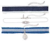 New York & Co. 3-Piece Silvertone Choker Necklace Set