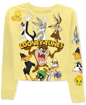 Warner Brothers Juniors' Bugs Bunny Looney Tunes Long-Sleeved Graphic T-Shirt