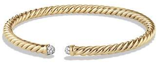 David Yurman Precious Cable Cablespira Bracelet with Diamonds in Gold