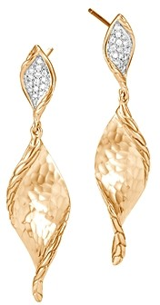 John Hardy 18K Yellow Gold Classic Chain Wave Hammered Pave Diamond Earrings