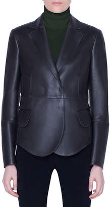 Akris Leather Snap-Front Jacket