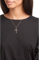 Ileana Makri 18K Pink Gold Classic Cross Necklace with White Diamonds