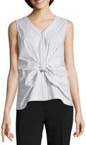 Liz Claiborne Sleeveless Waist Knot Button-Front Shirt
