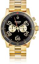 Nixon Men's Ranger Chrono Leather Watch-BLACK