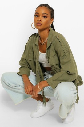 boohoo Oversized Pocket Drawcord jean jacket