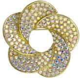 Krustallos Swarovski Crystal Brooch Round Star Design with Light Topaz Crystals