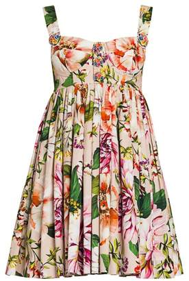 Dolce & Gabbana Cotton Poplin Floral-Print Bustier Mini Dress