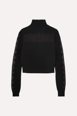 Alexander McQueen Lace-paneled Ribbed-knit Turtleneck Sweater - Black