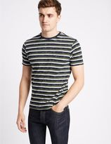 Marks and Spencer Cotton Rich Striped Crew Neck T-Shirt