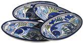 Le Souk Ceramique Aqua Fish 4-pc. Small Oval Platter Set