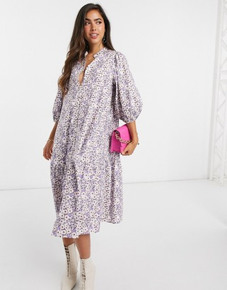 Vila midi smock dress with high neck in small floral print