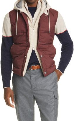 Brunello Cucinelli Quilted Down Vest with Cashmere Hood